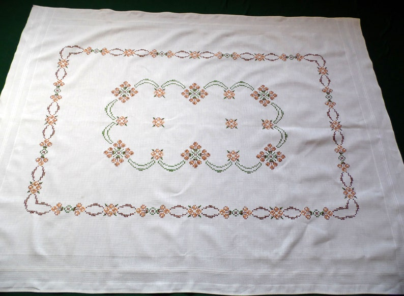 Vintage Hand Cross Stitched Cotton Tablecloth Antiques