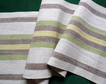 Vintage woven linen table runner stripes table runner scandinavian table topper