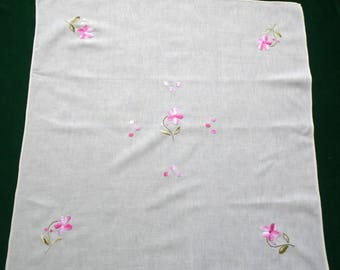 Vintage cotton cream square tablecloth with pink flowers floral hand embroidery embroidered table cloth