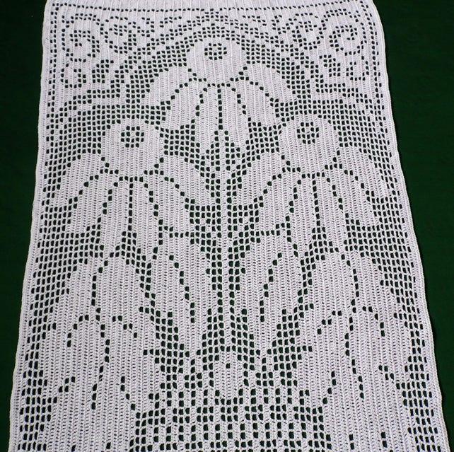 Weiße Baumwolle gehäkelt Fenster Vorhang Blumen Handarbeit | Etsy