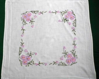 Vintage white square tablecloth with pink flowers floral hand embroidery embroidered square table cloth