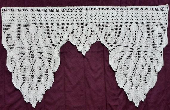 große weißer Baumwolle gehäkelt Fenster Vorhang Blumenmuster | Etsy