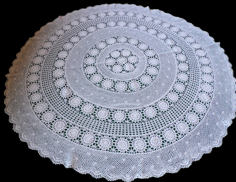 Vintage Beige Crocheted Round Tablecloth Crochet Table Cloth Lace Tablecloth