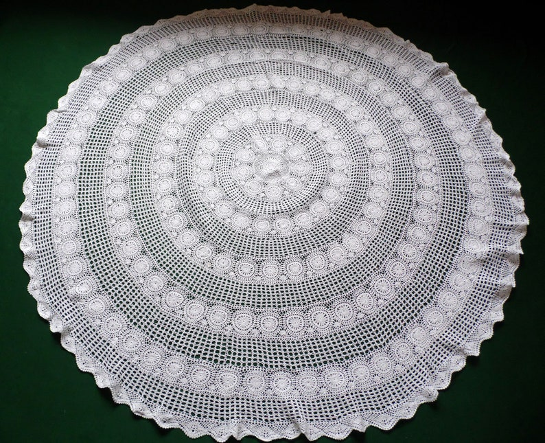 Vintage White Round Tablecloth Crochet Table Cloth Hand Crocheted Lace