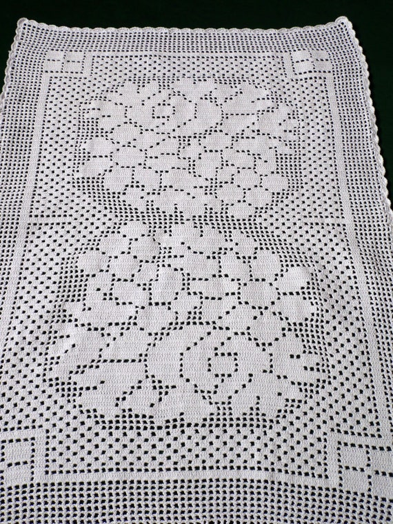 Vintage Crochet table topper. White filet small tablecloth.   Etsy