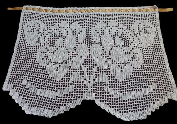 Weiße Baumwolle gehäkelt Fenster Vorhang ROSEN Muster Blume | Etsy