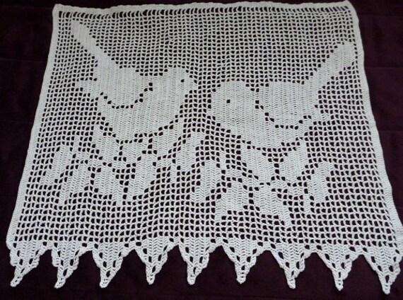 Weiße Baumwolle gehäkelt Fenster Vorhang Vögel Muster Vogel | Etsy