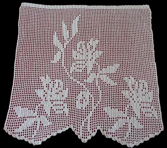 Weißer Baumwolle gehäkelt Fenster Vorhang Rosen Handarbeit | Etsy