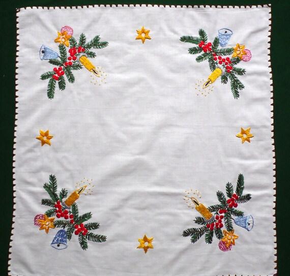 Navidad Vintage blanco algodón bordado a mano mantel cuadrado | Etsy