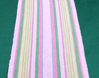 Vintage woven linen table runner pink stripes table runner colorful table topper