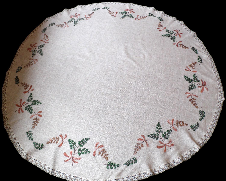 NUEVO mantel redondo hecho a mano con bordados de hojas de   Etsy