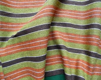 Vintage woven linen table runner orange and green stripes table runner