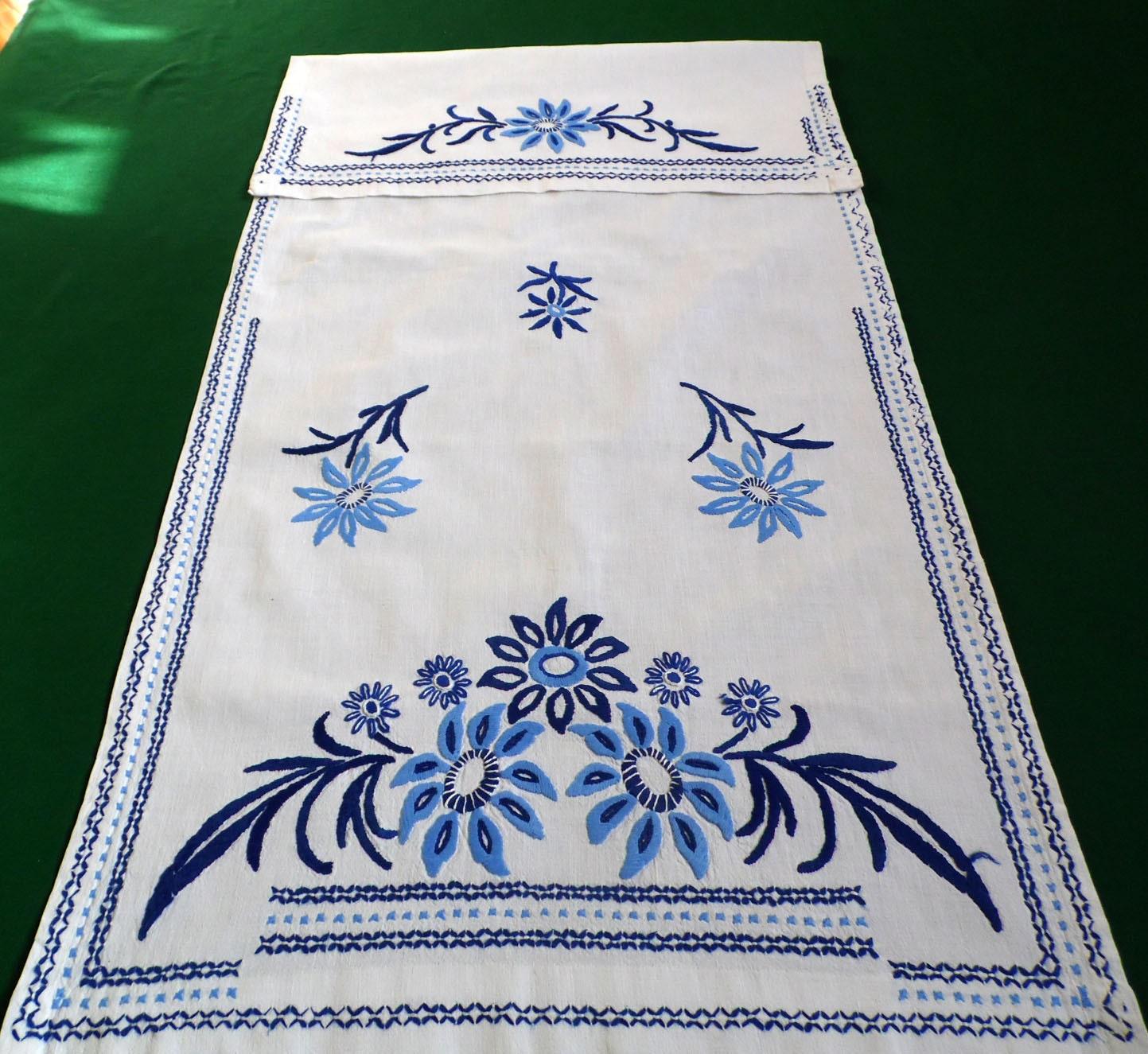 Toalla de lino Vintage mano bordado colgante plato toalla | Etsy