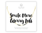 Smile More Worry Less Morse Code Necklace, Inspirational, Quote Jewelry, Inspirational Quotes, Get Well Gift, Smile Necklace, Relaxation