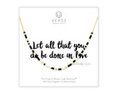 Let All That You Do Be Done In Love Morse Necklace, 1 Corinthians 16 14, Scripture Necklace, Bible Verse, Religious Jewelry, Wedding Gift