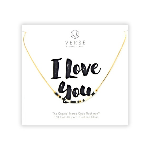 I Love You Morse Code Necklace Anniversary Gift Girlfriend