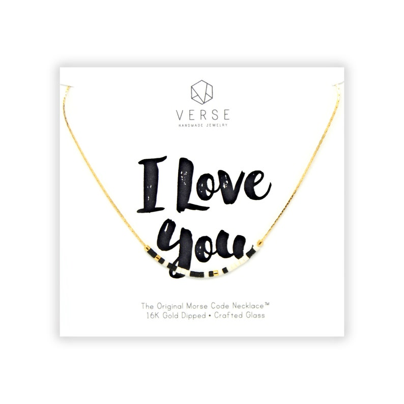 I Love You Morse Code Necklace Anniversary Gift Girlfriend Birthday Wife Valentines Day Mothers Women