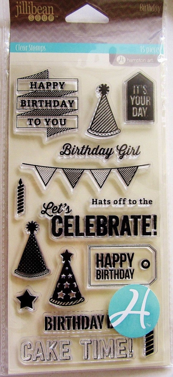 Birthday Card Sentiments Clear Acrylic Stamp Set By Jillibean Etsy