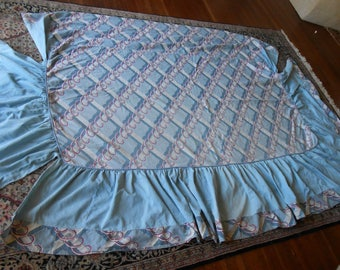 Vintage Studio Couch Cover w/2 Pillowcases/Blue Pink Abstract Design Cover