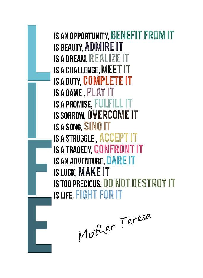 Leven Moeder Teresa Citeer Cute Inspireren Kast Teken Met Magneet Locker Tool Box Desk Office Plaque Art Motivationele Poster Print S261