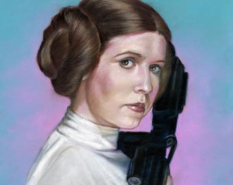 "Star wars, Princess Leia Carrie Fisher painting, poster,drawing by artist eugene 16""x20"",22.4""x28"",30""x40""inches"