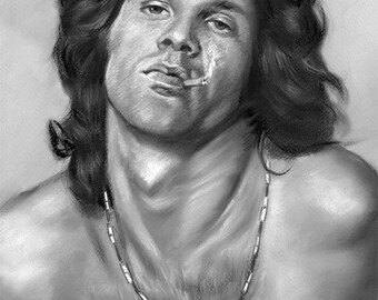 """jim morrison, the doors, rock group painting, poster, print, reproduction, charcoal drawing, 16""""x20"""",22.4""""x28"""",30""""x40"""""""