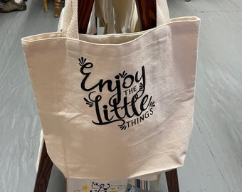 Enjoy the Little Things Embroidered Tote Bag and Dish Towel, Kitchen Towel, Flour Sack Dish Towel, Bar Towel, Guest Towel, Made in USA