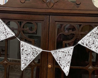 Lace Bunting Machine Embroidered, Made in USA