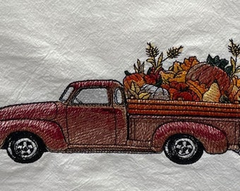 Retro Harvest Truck Embroidered Dish Towel, Kitchen Towel, Flour Sack Dish Towel, Bar Towel, Guest Towel, Made in USA