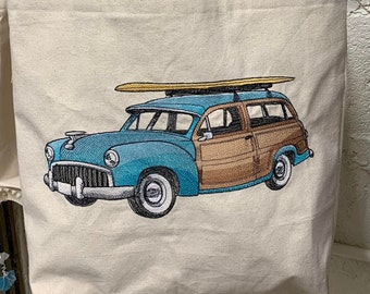 Surfer Retro Woody Wagon Tote Bag Made in USA