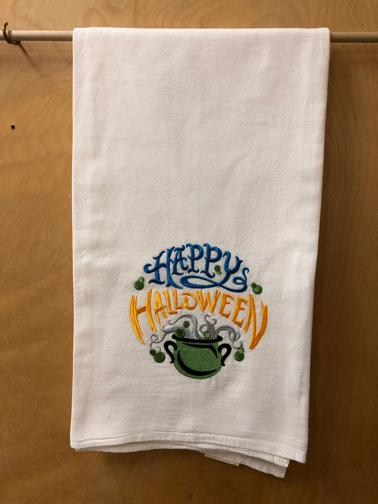 Embroider Flour Sack Towels Monogram New Made To Order Halloween Kitchen Witch