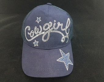 688c8841cd2 Cowgirl Blue Ponytail Hat Cap Rhinestone Crystal