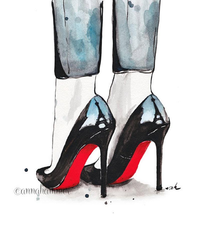 e5d8a37e4f66 Christian Louboutin Print Watercolor Art Print Louboutin
