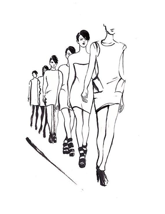 Schizzo Di Moda Moda Parete Arte Bianco E Nero Stampa Etsy