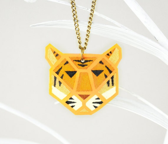 Yellow Neon Tiger Pendant King Tiger Necklace Jungle Necklace Jungle Jewelry Neon Jewelry Fluorescent UV Jewelry Glowing in Black Light