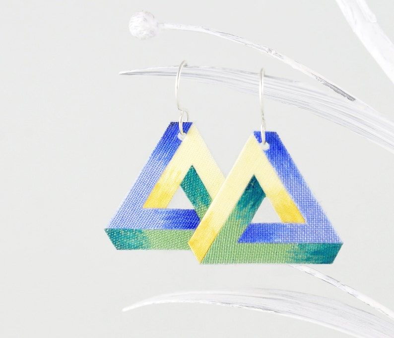 b217b0191ac10 Hand-painted Penrose Triangle Earrings of Linen in Mint, Blue and Yellow