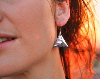3D holographic earrings Origami Triangle Silver Rainbow Colors Pyramid Earrings Geometrical and Hooks of 925 Sterling Silver