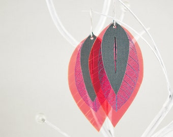 Neon Earrings With Authentic Leafs, Colorful Neon Pink, Turquoise Blue, Gray, Linen With Hook Of 925 Sterling Silver // manufactured