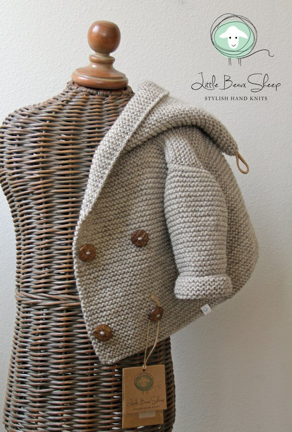 3548dab8f Items similar to Hand knitted Handmade Baby Wool Sweater Coat Hooded ...
