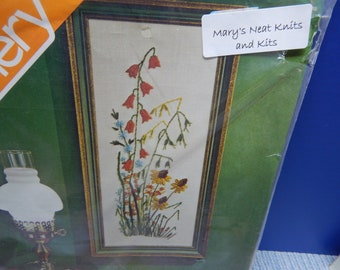 Spring Flowers, Spinnerin, 8 x 18 Vintage, NIP, 14 x 18  Crewel Kit Unique and Rare