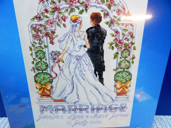 M /& R Technologies Wedding Honoring Marriage Record Counted Cross Stitch