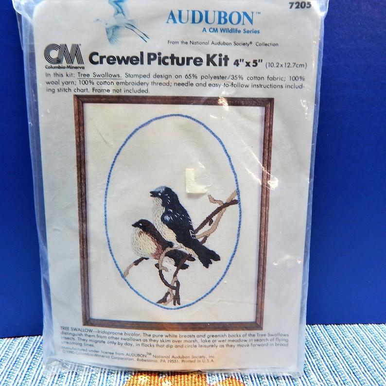 Audubon CrewelEmbroidery Kit 4 X 5  Vintage Tree Swallow  80/'s