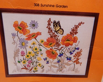"""SUNSHINE GARDEN Crewel Embroidery Kits Creative Circle Open  Clean 12"""" x 16"""" Vintage 1983 Butterflies and Flowers Mary's Neat Knits and Kits"""
