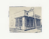 """Mohawk Mart - One of a kind hand printed cyanotype from original 4x5 Large format negative 9""""x12"""""""
