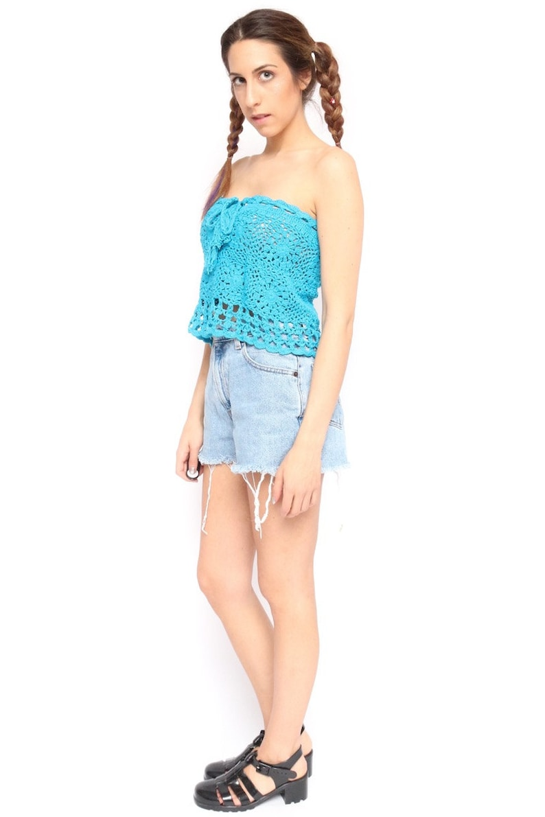 7d5ee37a028 Vintage 90s Bright Blue Teal Crocheted Tube Top Hippie Boho