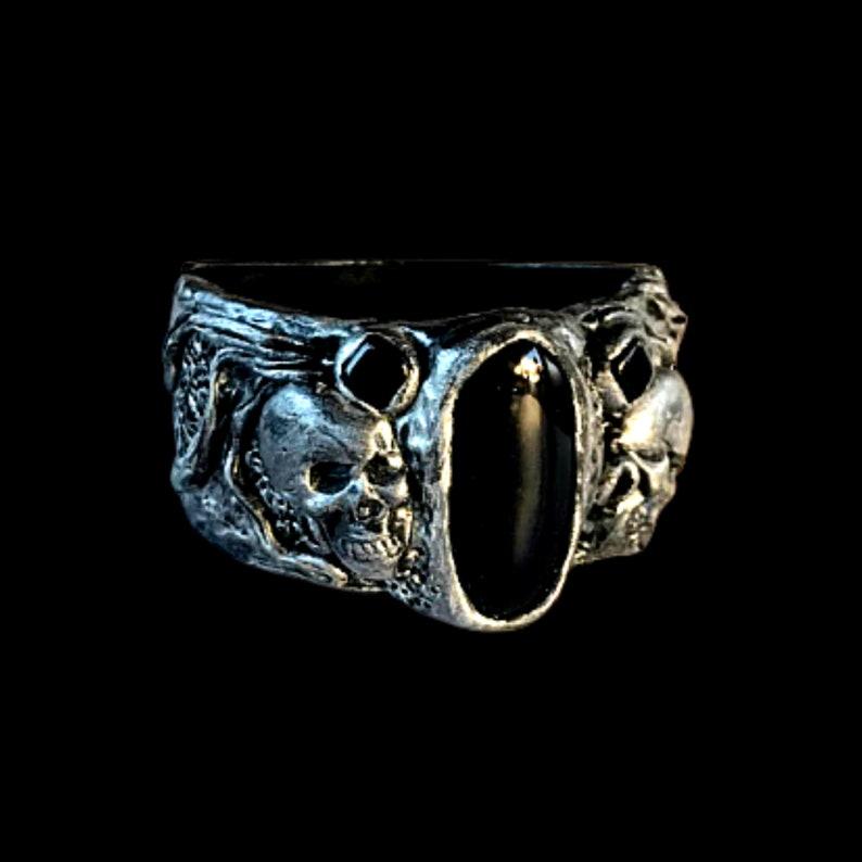 Goth wide cuff bracelet Skull bracelet women hinged bracelet image 0