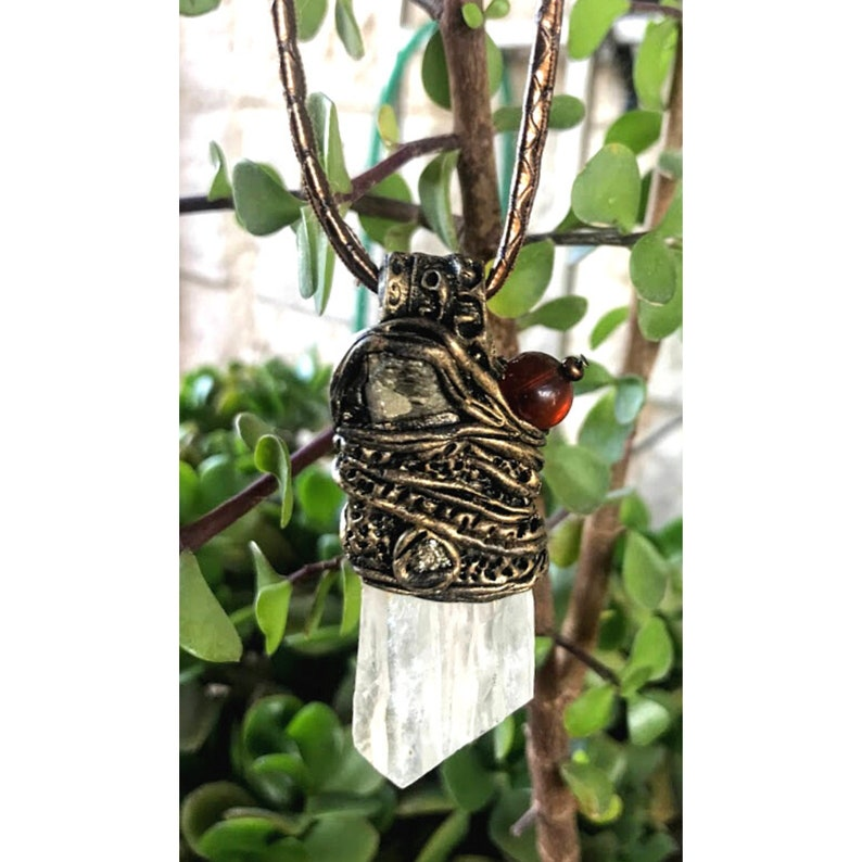 Raw Calcite /& Pyrite necklace negative energy protection third eye chakra necklace rough reiki crystal pendants