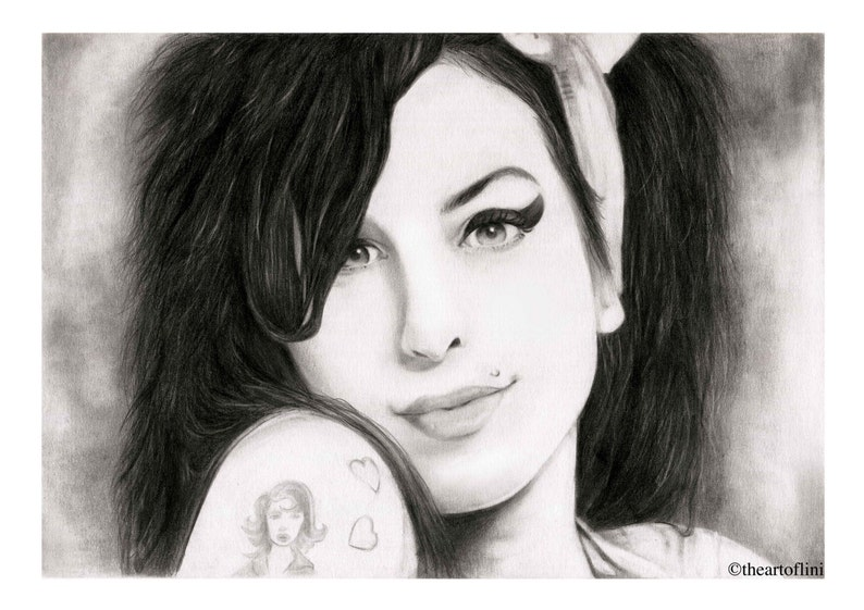 Art Print Of Amy Winehouse Original Pencil Drawing By Lini Etsy