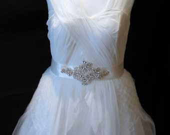 Ivory Jeweled rhinestones floral bridal ribbon sash belt Perfect for weddings and parties.