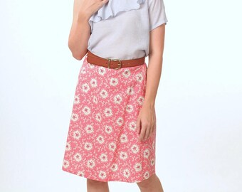 CORAL WOMENS SKIRT - A-Line Skirts - Knee Length Skirt - Skirt Floral - Romantic and Feminine Clothing
